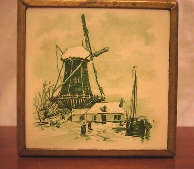 Lovely Antique Dutch Tile framed in Brass Green & Cream Colored BEAUTIFUL!