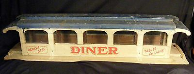 "Diner Restaurant Model-Wood, Tin and Glass-Rare-32""L x 9""w x 7""w-Handmade-1930's"