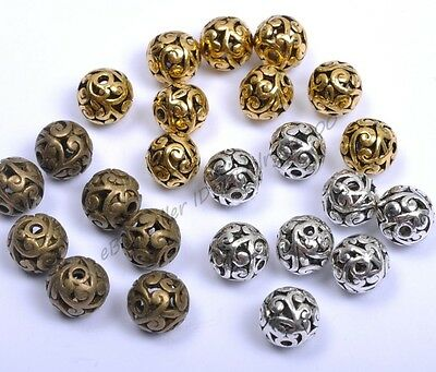 10Pcs Round Heart Metal Carved Hollow Tibetan Silver Spacer Beads Jewellry X3000