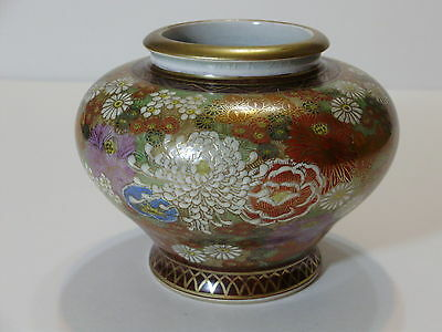 Antique Japanese Satsuma Thousand Flowers Vase Meiji Signed