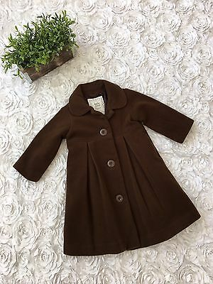 Baby Gap Girls Toddler Wool Cashmere Peacoat Bow Jacket Brown SZ 12-18 months