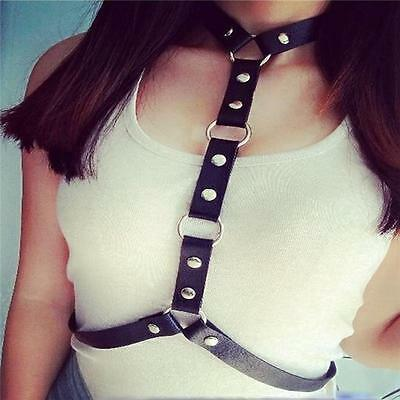 HOT Women Faux Leather Chest Body Harness Cage Waist Belt Sculpting Costume - LD