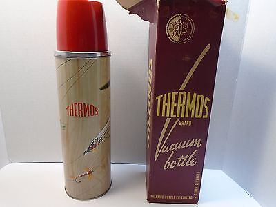 VINTAGE 1960s SPORTSMAN THERMOS FLY FISHING Trout Flies Vacuum lunch bottle
