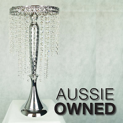 POLISHED SILVER CENTREPIECE 57CM - Hanging Crystal Garland | Wedding Table