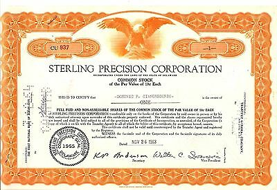 1sh 1963 OLD CXLD STOCK CERTIFICATE STERLING PRECISION CORP DOMINIC GIANGREGORIO