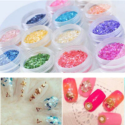 12X Nail Art Glitter Crushed Shell Chips Powder Dust Tips DIY Decoractions