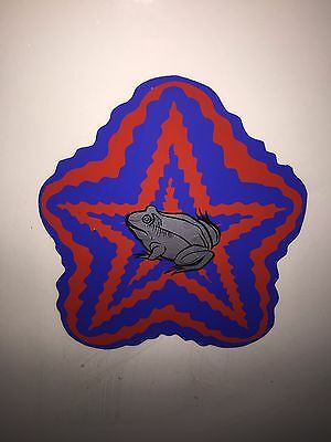 Vintage Silkscreen Poster Painting Frog in Psychedelic Star Signed Pop Art 1971