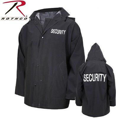 Black Security Guard Security Officer Rain Coat Jacket & Removable Hood 36651