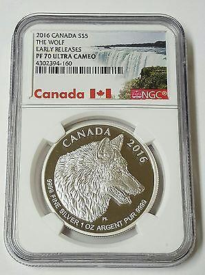 2016 Canada S$5. The Wolf Early Releases PF70 Ultra Cameo. 1 Oz Silver Coin.