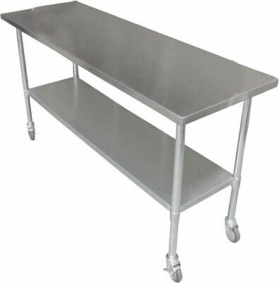 1.5M #430 Gym Cafe Stainless Steel  Bench Station,1 Set Wheels ,1 Under Shelf