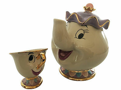 NEW Beauty And The Beast Teapot Cartoon Mug Mrs Potts Chip Tea Pot Cup Set XMAS
