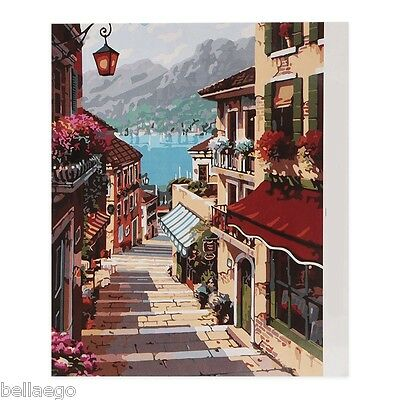 DIY Paint Number Digital Oil Painting Set City Street Trail for Home Wall Decor