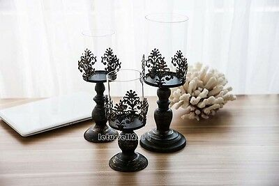 Classic French Black Wash Wrought Iron Windproof Candle Stand Holder Home Light