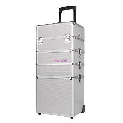 3/4 in1 Silver Makeup Vanity Case Cosmetics Nail Hairdressing Box Beauty Trolley