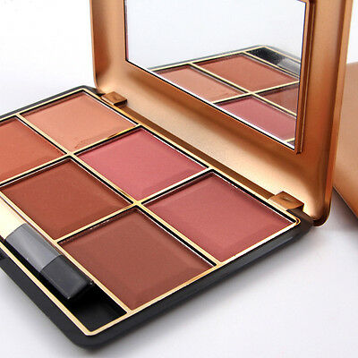 6 Colors Miss Rose Face Blusher Cheek Powder Blush Palette Beauty with Brush
