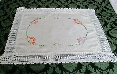 Antique Tray Cloth Hand Embroidery & Hand Crochet Edge