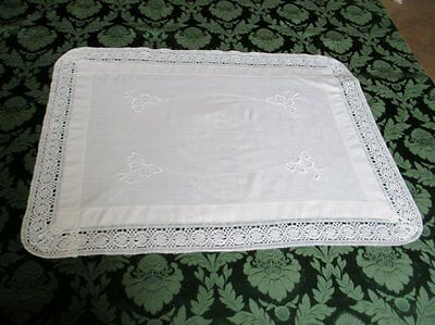ANTIQUE TRAY CLOTH with EMBROIDERY & LACE EDGE