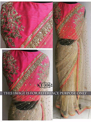Latest Bollywood Sari Indian Designer Embroidered Beige Party Wear saree Sari