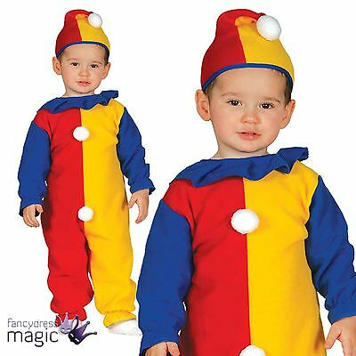Boys Girls Baby Toddler Circus Clown Jumpsuit Fancy Dress Costume Outfit And Hat