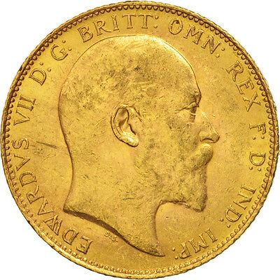[#506127] Great Britain, Edward VII, Sovereign, 1906, AU(50-53), Gold, KM:805