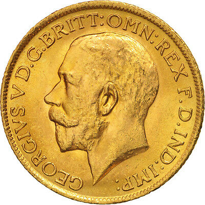[#506160] Great Britain, George V, Sovereign, 1914, MS(63), Gold, KM:820