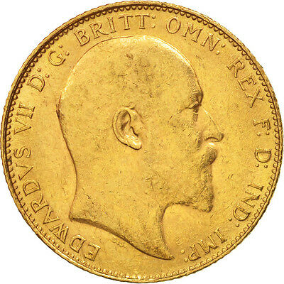 [#506128] Great Britain, Edward VII, Sovereign, 1907, AU(50-53), Gold, KM:805