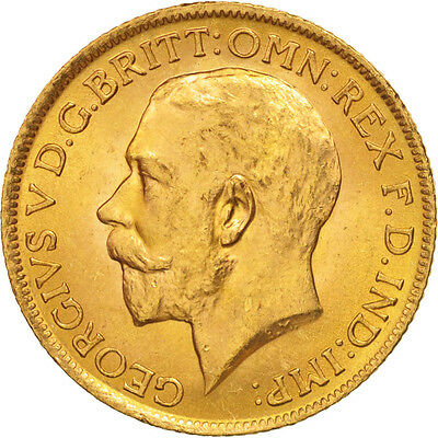 [#506161] Great Britain, George V, Sovereign, 1914, MS(63), Gold, KM:820