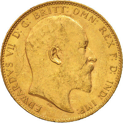[#506126] Great Britain, Edward VII, Sovereign, 1905, AU(50-53), Gold, KM:805