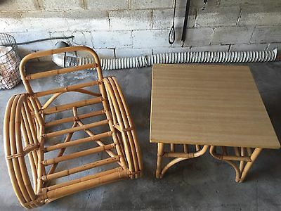 Vintage 1950's Bamboo Rattan Table & Chair Set