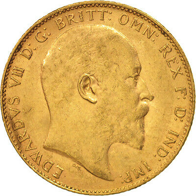 [#506123] Great Britain, Edward VII, Sovereign, 1904, AU(50-53), Gold, KM:805