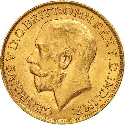 [#506158] Great Britain, George V, Sovereign, 1913, MS(60-62), Gold, KM:820