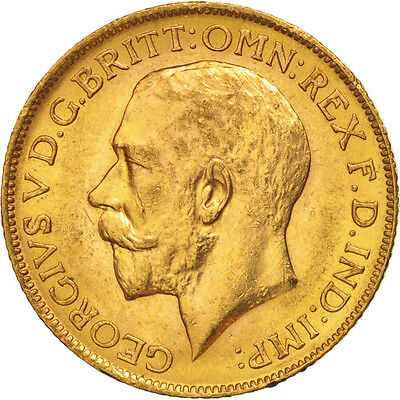 [#506155] Great Britain, George V, Sovereign, 1911, AU(55-58), Gold, KM:820