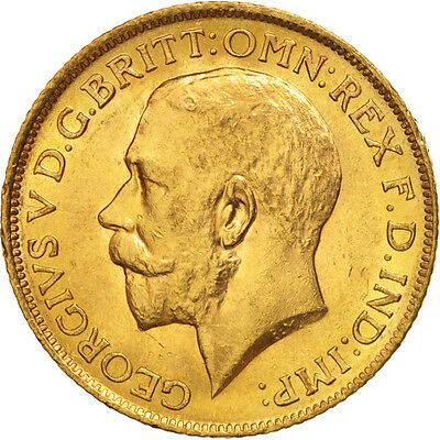 [#506157] Great Britain, George V, Sovereign, 1912, MS(60-62), Gold, KM:820
