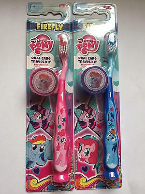 ** Kids My Little Pony Toothbrush Travel Kit Pink & Blue Cap New ** Tooth Brush