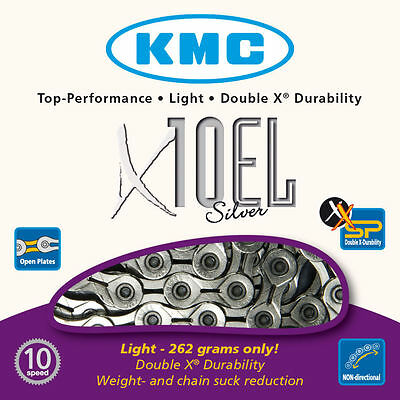 KMC X10EL Bike Chain Extra Light 10 Speed Cycle Chain KMCX10EL Silver