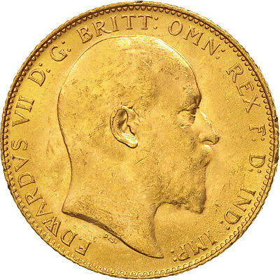 [#506132] Great Britain, Edward VII, Sovereign, 1910, AU(50-53), Gold, KM:805