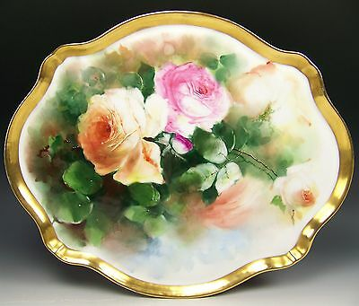 "Beautiful Limoges Hand Painted Peach Roses 16"" Tray Platter Artist Seidel/worth"