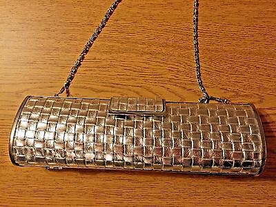 Purse, Clutch in Woven Silver Oblong Shape with Chain Strap, For Prom or Wedding