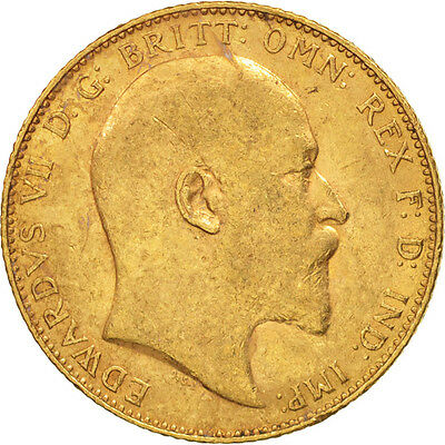 [#506131] Great Britain, Edward VII, Sovereign, 1909, EF(40-45), Gold, KM:805