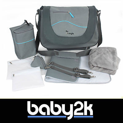 Bo Jungle B-Leisure Baby Nappy Nursery Changing Bag in Grey with Free Extras BN