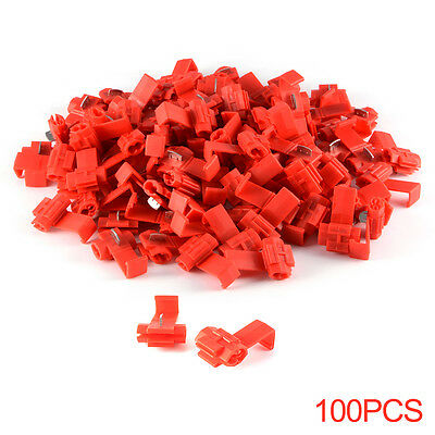 100x Red Wire Connectors Quick Splice Electrical Clip Terminals 3 Colors HS789