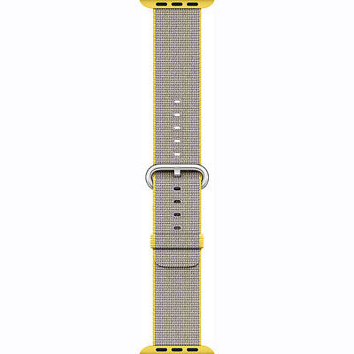 Genuine Apple Watch Woven Nylon Band 42mm Yellow/Light Gray MNKJ2AM/A New Other!