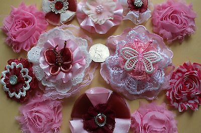 Shabby Chic Crafts Scrapbook Card Embellishments Fabric Flowers