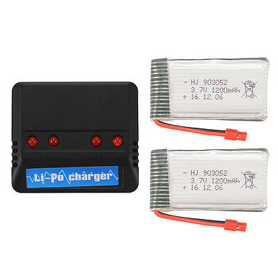 2pcs 1200mAh Lipo Battery+4in1 Charger+2x Convert Cable for Syma X5HW X5HC BC670