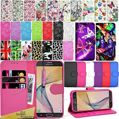 For Samsung Galaxy J7 PRIME -Wallet Leather Case Flip Cover + Screen Protector