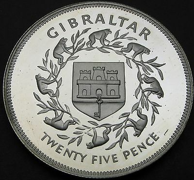 GIBRALTAR 25 Pence 1977 Proof - Silver - Silver Jubilee - 800 猫