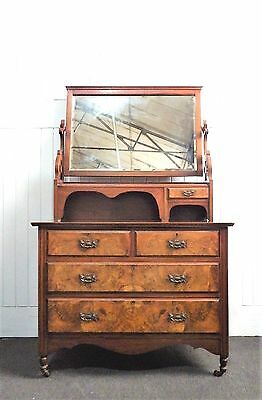 Antique Victorian walnut mirror dressing table chest of drawers