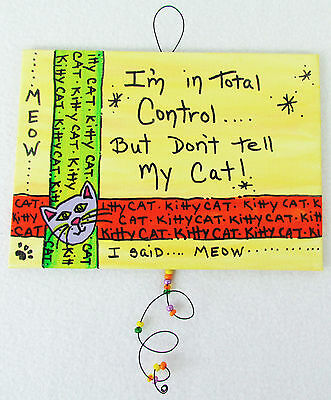 Kitty Cat Wall Art Whimsical Sign Hand Painted Canvas Cat Lover Meow