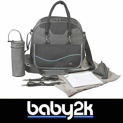 Bo Jungle B-City Baby Nappy Nursery Changing Bag in Grey with Free Extras BN