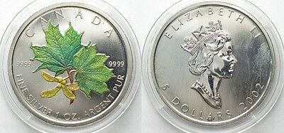 CANADA 5 $ 2002 MAPLE LEAF 1 oz silver COLORED # 96085